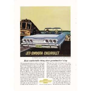 1963 Ad Blue Jet Smooth Chevy Impala Convertible Original