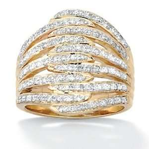 PalmBeach Jewelry Gold Over Silver Diamond Womens Ring