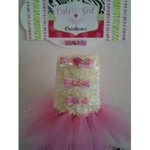 Tutu Dress for Babies and Pets w/ Pink & White Animal Print Ribbon