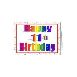 11 Years Old Rainbow Stripe Birthday with Star Border Card