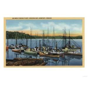 Oregon   Salmon Fishing Fleet in Yaquina Bay Giclee Poster Print, 12x9