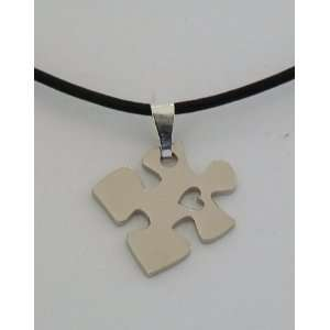 Autism Awareness Puzzle Piece with Heart Necklace