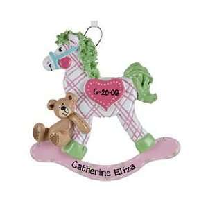 Plaid Rocking Horse   Pink Girl Christmas Ornament: Home & Kitchen