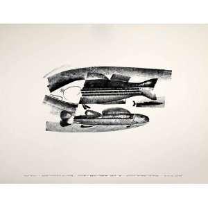 1954 Lithograph Taylor Poore Abstract Modern Fish Art Runkle Thompson