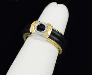 Baraka 18k Two Tone Gold Black Rubber Ring