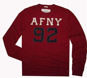 NWT Abercrombie & Fitch Mens Red AFNY Shirt Top $40 L