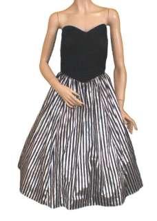 Strapless Metallic Silver Party Prom Dress S M Striped Velvet Zum Zum