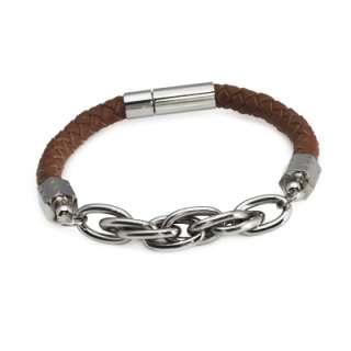 Mens Black or Brown Braided Leather Bracelet w/ Stainless Steel