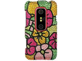RAINBOW FLOWERS BLING CRYSTAL CASE COVER HTC EVO 3D Shiny BEDAZZLED