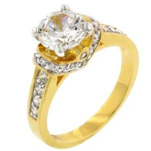 Engagement 4.1 CT 14k Yellow Gold Plated CZ Ring Size 5