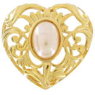 Vintage Scarf Clip Gold Tone Filigree Heart Faux Pearl Large 1980s