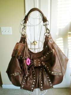 Nwt 368 Betsey Johnson Bows Arrows Chocolate Brown Leather Tote Bag
