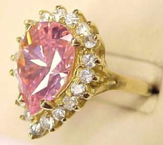 Large Pink CZ Accented 10KT Solid Gold Ring Sz 9 NEW