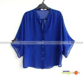 Women Fashion Sexy Loose Batwing Chiffon Shirt New #067