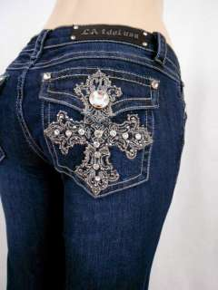 Bootcut Jeans Embroidered Crystal Ivy Cross Stretch1,3,5,7,9,11,13