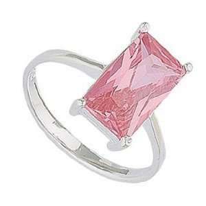 Sterling Silver Pink CZ Solitaire Ring   Band Width 1.5mm. Stone 12mm