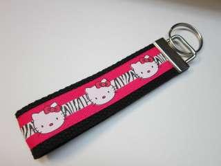 Zebra Print Hello Kitty Wristlet Key Chain Key Fob Great For Gifts