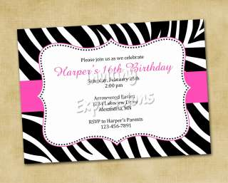 ELEGANT ZEBRA PRINT Birthday Invitations HOT PINK