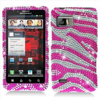 Pink Zebra Bling Hard Case Cover for Verizon Motorola Droid Bionic