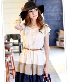 Women Ladys korean fashion chiffon tunic dress Q10660 2colors