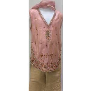 Baby Girl, Light Rose Pink and Beige, Raw Silk Hand Embroidered