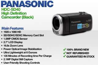 Panasonic HDC SD40 High Definition Camcorder Black  New 885170040205