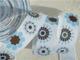 10Yd White   Blue & Brown Flower 5/8 Grosgrain Ribbon