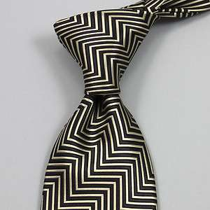 Tom Ford Black and Cream Zig Zag Mens Silk Tie BRAND NEW