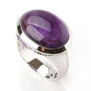 Smart February Big Natural Amethyst 925 Sterling Silver Rings 7 USA