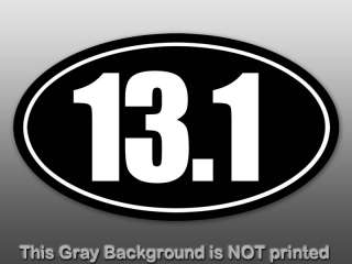 Black 13.1 Oval Sticker  decal half marathon pinstripe