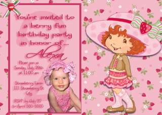 Strawberry Shortcake Birthday Party Invitations x 2