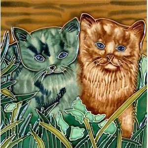 Kittens in Grass Cat Decorative Ceramic Wall Art Tile 8x8