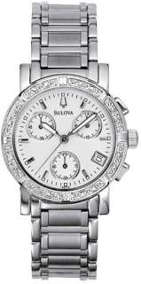Womens Bulova Chronograph 16 Diamond Watch 96R19
