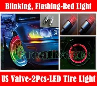 2pcs Red LED Bike Car Tyre Tire Valve Caps Neon Lights
