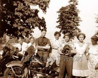 1940 Harley Davidson Motorcycle and Rider Photo 4
