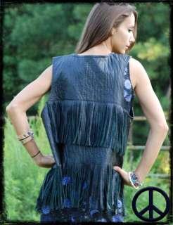 Vtg 60s Hippie Black Biker Fringed Faux Leather Vest