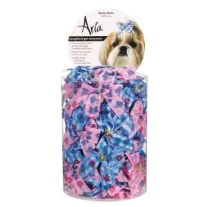 Aria Poly Ribbon Becky Dog Bows Canisters, 2 Inch, 100 Pack, Pink and