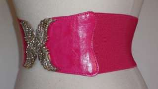 NEW CRYSTAL BUCKLE ANGEL WINGS WIDE PATENT BELT PINK