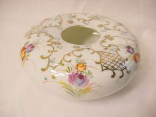 Nippon Hair Receiver White Gold Multi Colored Flowers