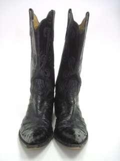 RIOS OF MERCEDES Mens Black Ostrich Western Cowboy Boots 7