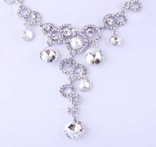 White Ringed Bead Link Czekh Rhinestone Crystal Bridal Necklace
