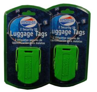 Lot 4 American Tourister Security ID Green Luggage Tags 0608182124028