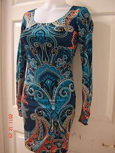 INC International Concepts Dress, Long Sleeve Paisley Printed Jersey