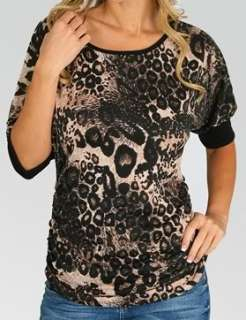 Brown/Black Leopard Ruched Side Short Sleeve Top