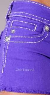 Me Jeans Shorts Royal Crystal Cross Purple Denim JP5046H11 Sz 25 31