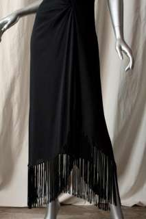 CELINE Long Black SILK Halter Cocktail Dress+Fringe 36