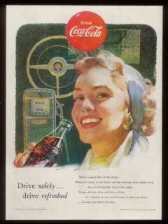 1953 pretty woman art Coca Cola Coke vintage print ad |