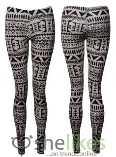Womens Full Length Leggings Ladies Black White Aztec Tribal Print