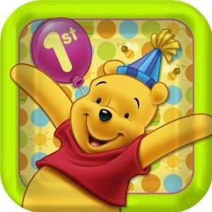 Winne the Pooh 1st Birthday Party Dessert Plates   Pooh First Birthday