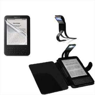 Black Leather Cover Case With Book Light + LCD Film For  Kindle